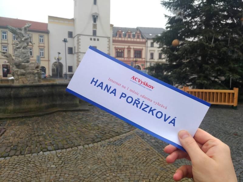 Výhercem soutěže o internet na měsíc zdarma Prosinec 2019 je Hana Pořízková